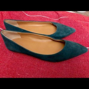 J Crew Pointed Toe Flats in Green Suede